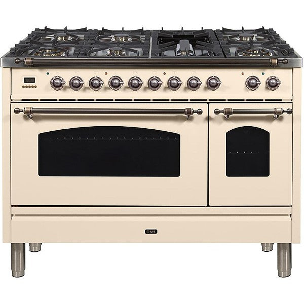 "Ilve Nostalgie Series 48"" Antique White Dual Fuel Liquid Propane Range with 7 Sealed Burners"