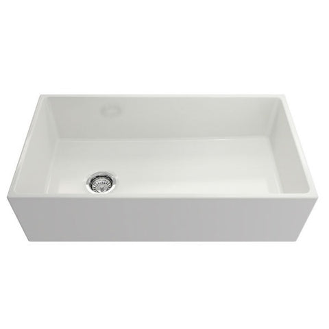 "Crestwood CW-MOD-36 36"" White Modern Single Bowl Smooth Fireclay Farmhouse Sink - Annie & Oak"