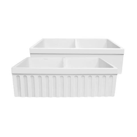 "Image of Whitehaus WHQDB332 33"" White Double Bowl Reversible Fireclay Farmhouse Sink - Annie & Oak"