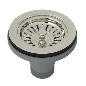 "Rohl 735 3 1/2"" Polished Nickel Manual Basket Strainer Without Remote Pop-Up - Annie & Oak"