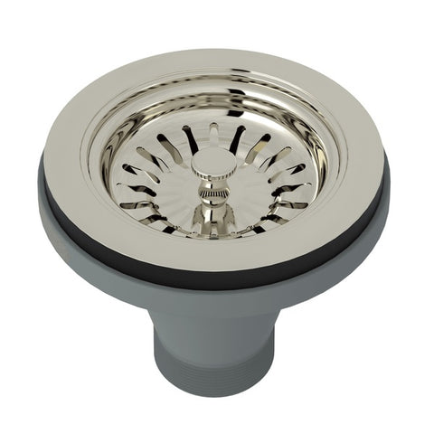 "Rohl 735 3 1/2"" Polished Nickel Manual Basket Strainer Without Remote Pop-Up-Annie & Oak"