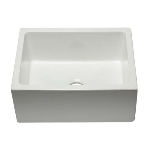 "ALFI brand AB2418HS-W 24"" White Reversible  Single Bowl Fireclay Farmhouse Sink - Annie & Oak"