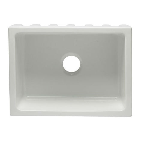 "Image of ALFI brand AB2418HS-W 24"" White Reversible Single Bowl Fireclay Farmhouse Sink-Annie & Oak"