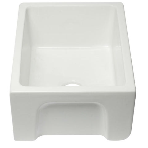 "ALFI brand AB2418HS-W 24"" White Reversible Single Bowl Fireclay Farmhouse Sink-Annie & Oak"