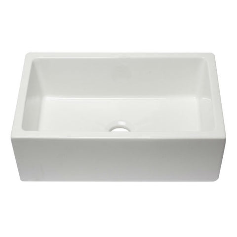 "Image of ALFI brand AB3018HS-W 30"" White Reversible Single Bowl Fireclay Farmhouse Sink - Annie & Oak"