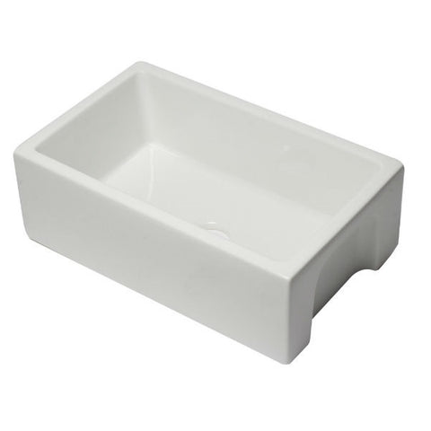"ALFI brand AB3018HS-W 30"" White Reversible Single Bowl Fireclay Farmhouse Sink - Annie & Oak"