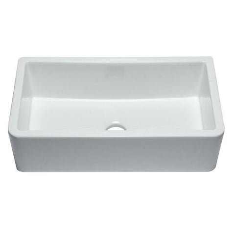 "ALFI brand AB3318SB-W 33"" White Smooth Single Bowl Fireclay Farmhouse Sink-Annie & Oak"