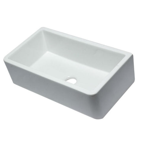 "Image of ALFI brand AB3318SB-W 33"" White Smooth Single Bowl Fireclay Farmhouse Sink-Annie & Oak"
