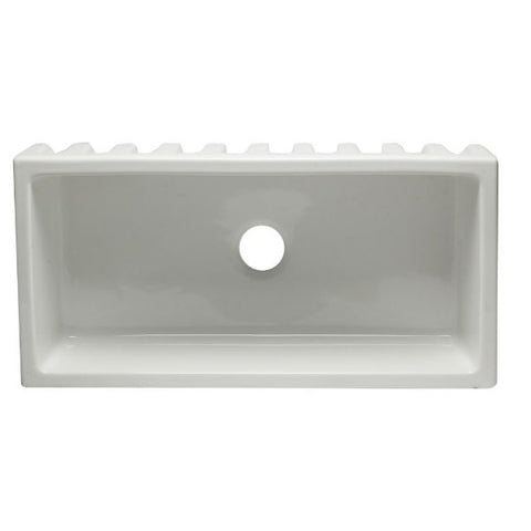 "ALFI brand AB3618HS-W 36"" White Reversible Single Bowl Fireclay Farmhouse Sink - Annie & Oak"