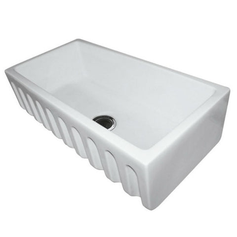 "ALFI brand AB3618HS-W 36"" White Reversible Single Bowl Fireclay Farmhouse Sink-Annie & Oak"