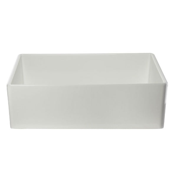 "ALFI brand AB533-W 33"" White Smooth Single Bowl Fireclay Farmhouse Sink - Annie & Oak"