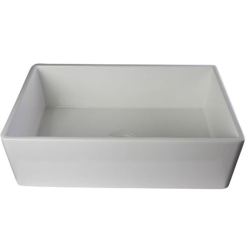 "ALFI brand AB533-W 33"" White Smooth Single Bowl Fireclay Farmhouse Sink-Annie & Oak"