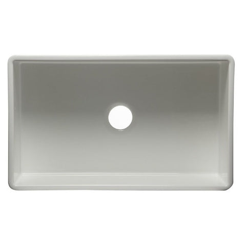 "Image of ALFI brand AB533-W 33"" White Smooth Single Bowl Fireclay Farmhouse Sink - Annie & Oak"