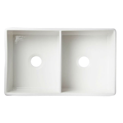 "ALFI brand AB538-W 32"" White Double Bowl Smooth Fireclay Farmhouse Sink - Annie & Oak"