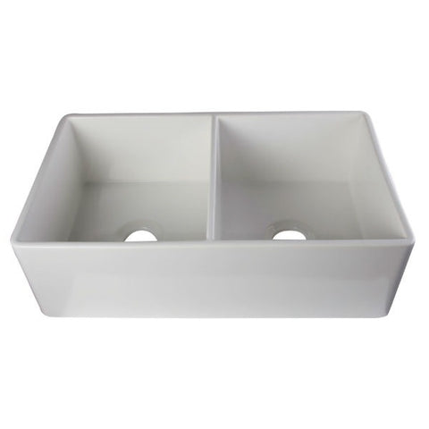 "Image of ALFI brand AB538-W 32"" White Double Bowl Smooth Fireclay Farmhouse Sink-Annie & Oak"