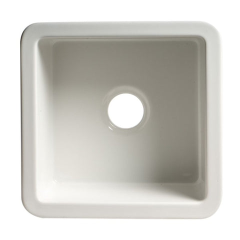 "ALFI brand ABF1818S 18"" White Undermount / Drop In Fireclay Prep Sink"