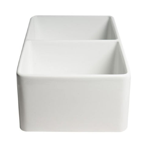 "Image of ALFI brand ABF3318D 33"" White Smooth Apron Double Bowl Fireclay Farmhouse Sink"