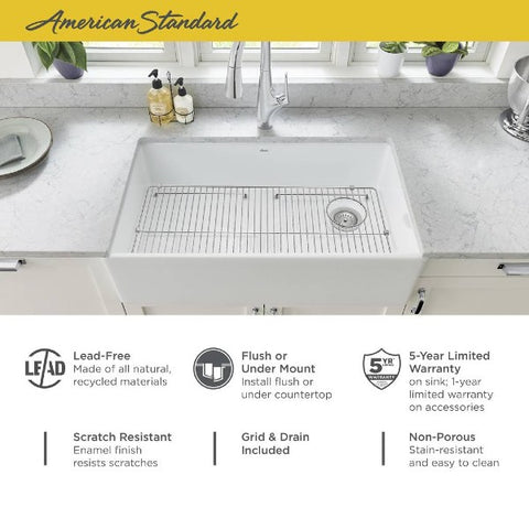 "Image of American Standard Avery 36"" White Dual Mount Single Bowl Fireclay Farmhouse Sink - Annie & Oak"