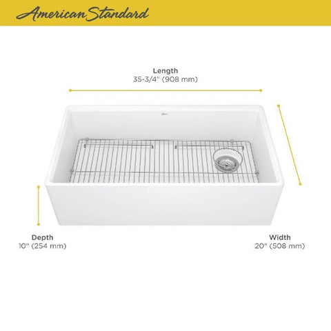 "American Standard Avery 36"" White Dual Mount Single Bowl Fireclay Farmhouse Sink - Annie & Oak"