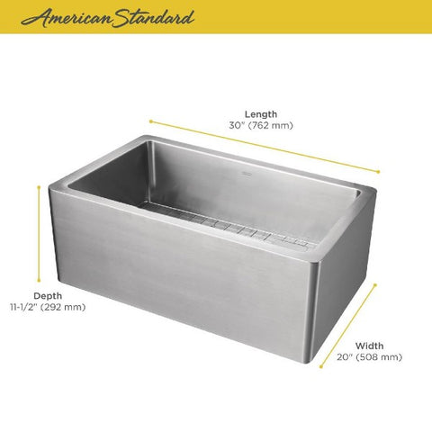 "American Standard Avery 30"" Stainless Steel Single Bowl Farmhouse Sink - Annie & Oak"