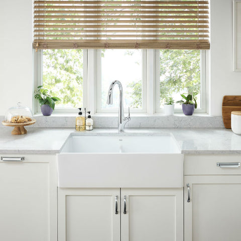 "Image of American Standard Avery 36"" White Double Bowl Fireclay Farmhouse Sink w/ Grid-Annie & Oak"