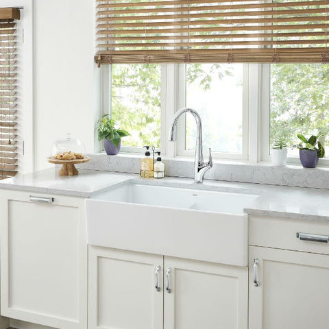 "American Standard Avery 36"" White Double Bowl Fireclay Farmhouse Sink w/ Grid - Annie & Oak"