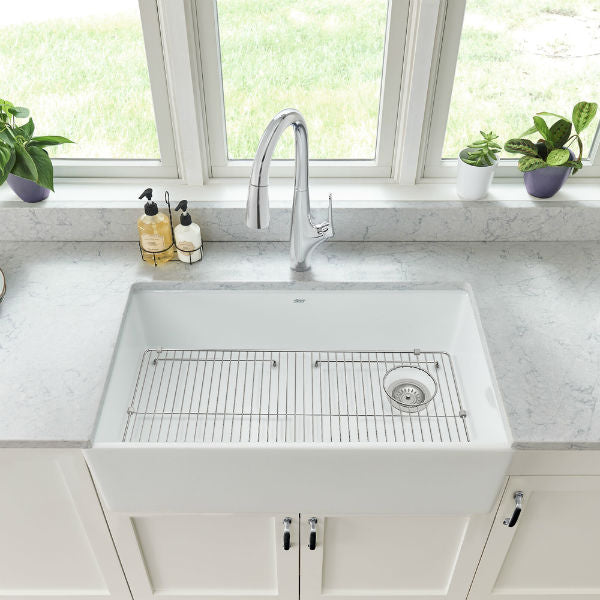 "American Standard Avery 30"" White Single Bowl Fireclay Farmhouse Sink w/ Grid - Annie & Oak"