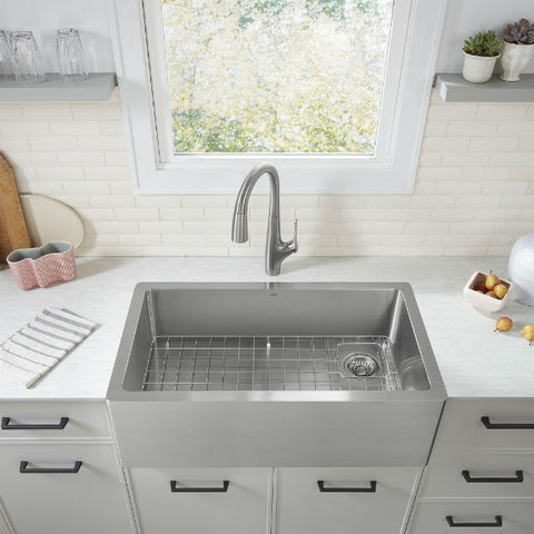 "Image of American Standard Avery 36"" Stainless Steel Single Bowl Farmhouse Sink w/ Grid - Annie & Oak"
