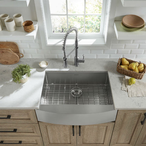 "Image of American Standard Pekoe 30"" Stainless Steel Single Bowl Farmhouse Sink w/ Grid - Annie & Oak"