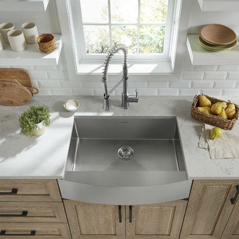 "American Standard Pekoe 30"" Stainless Steel Single Bowl Farmhouse Sink w/ Grid-Annie & Oak"