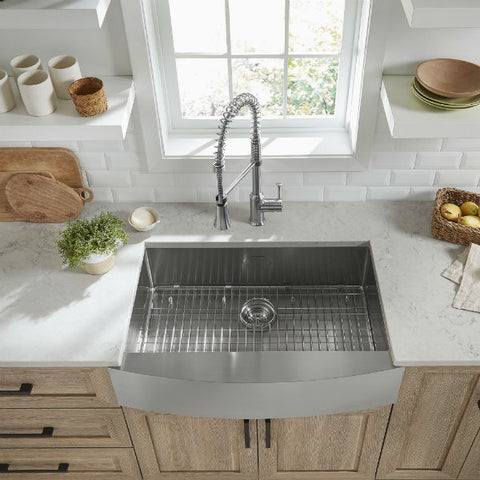 "American Standard Pekoe 33"" Stainless Steel Single Bowl Farmhouse Sink w/ Grid - Annie & Oak"