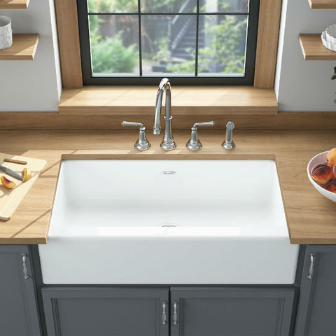 "Image of American Standard Delancey 36"" White Single Bowl Cast Iron Farmhouse Sink - Annie & Oak"
