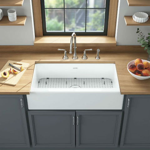 "Image of American Standard Delancey 36"" White Single Bowl Cast Iron Farmhouse Sink-Annie & Oak"