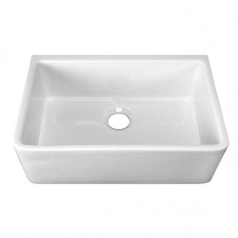 "Image of Barclay FS30CD Delia 30"" White Single Bowl Fireclay Farmhouse Sink"