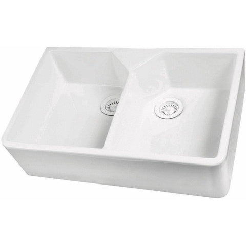"Barclay FS31 Jolie 31"" White Fireclay Double Bowl Apron Front Farmhouse Sink"