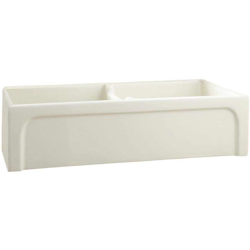 "Barclay FSDB1552 Myron 39"" Double Fireclay Farmhouse Kitchen Sink with Arched Apron - Annie & Oak"