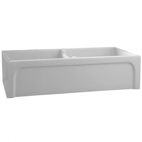 "Barclay FSDB1552 Myron 39"" Double Fireclay Farmhouse Kitchen Sink with Arched Apron-Annie & Oak"