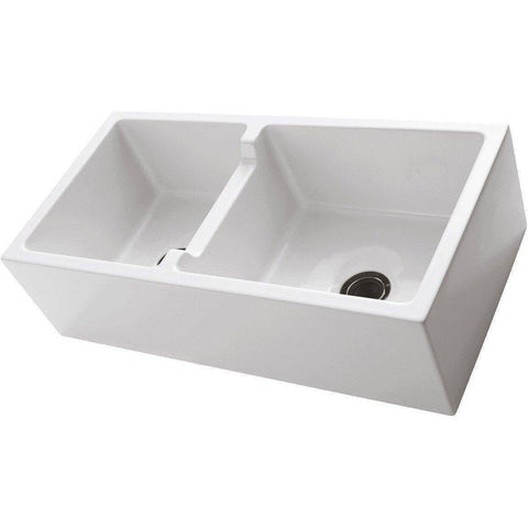 "Barclay FSDB1556 Maura 36"" Fireclay Offset Double Bowl Farmhouse Apron Front Kitchen Sink - Annie & Oak"
