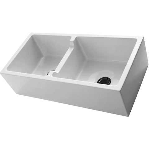 "Barclay FSDB1558 Mina 39"" Fireclay Double Bowl Farmhouse Apron Front Kitchen Sink - Annie & Oak"