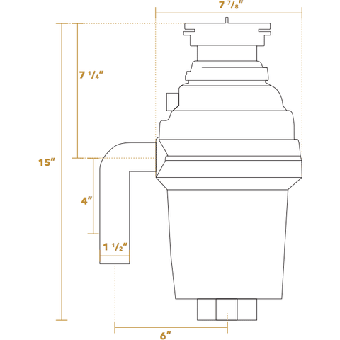 Image of Whitehaus Cyclonehaus 7 7⁄8 1 HP Garbage Disposal with Brass Flange WH007 - Annie & Oak