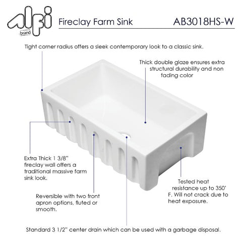 "ALFI brand AB3018HS-W 30"" White Reversible Single Bowl Fireclay Farmhouse Sink"