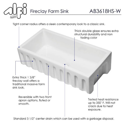 "ALFI brand AB3618HS-W 36"" White Reversible Single Bowl Fireclay Farmhouse Sink"