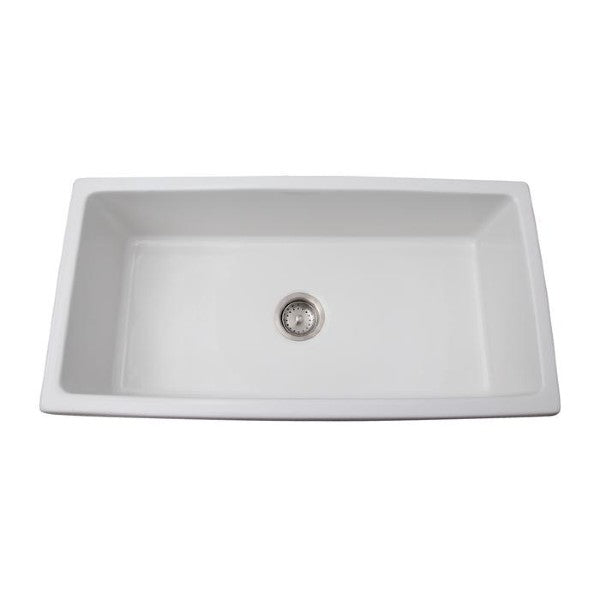 "Barclay FS36FL Hillary 36"" White Single Bowl Fireclay Farmhouse Sink"