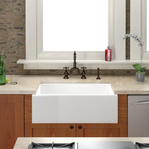 "Barclay FS30 30"" White Single Bowl Fireclay Farmhouse Sink"