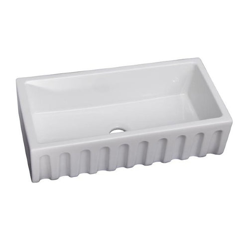 "Image of Barclay FS36FL Hillary 36"" White Single Bowl Fireclay Farmhouse Sink"