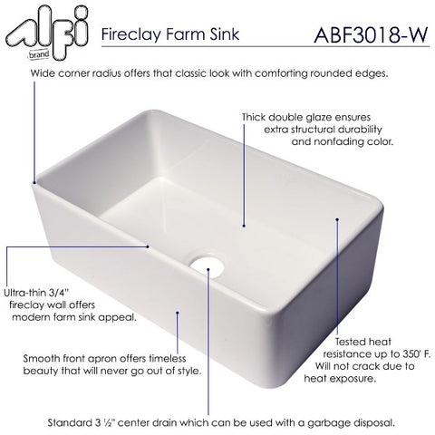 "ALFI brand ABF3018 30"" White Single Bowl Thin Wall Fireclay Farmhouse Sink"