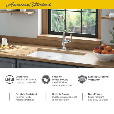 "Image of American Standard Delancey 30"" White Double Bowl Cast Iron Undermount Sink - Annie & Oak"