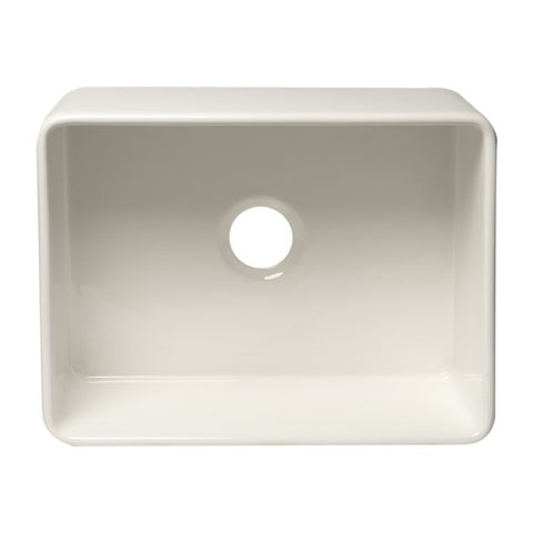 "ALFI brand ABF2418 24"" White Single Bowl Thin Wall Fireclay Farmhouse Sink - Annie & Oak"