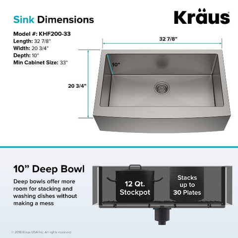 "Kraus Standart PRO KHF200-33 33"" Stainless Steel Single Bowl Apron Front Farmhouse Sink"