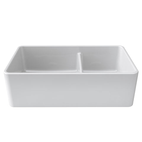 "Image of Latoscana 33"" White Reversible Double Bowl Fireclay Farmhouse Sink LTD3319-Annie & Oak"